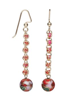 Earrings with Cloisonné Beads, Seed Beads and 14Kt Gold-Filled Jumprings