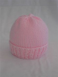 Easy Newborn Hat Knitting Pattern Knit with Straight Needles OR Double Pointed Needles Free pattern for charitable purposes and perso...