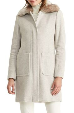 Lauren Ralph Lauren Wool Blend Coat with Faux Fur Collar (Regular & Petite) available at #Nordstrom