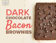 Dark Chocolate Bacon Brownies -- Bake these bacon brownies with dark chocolate for an antioxidant-packed dessert! Bacon Brownies, No Bake Brownies, Gluten Free Brownies, No Bake Cake, Snacks To Make, Desserts To Make, Healthy Desserts, Sweets Recipes, Brownie Recipes