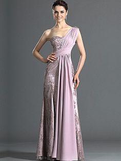 Goddess Style Draped One Shoulder Evening Dress with Embellished Overlay - USD $159.69