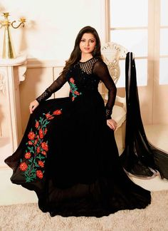 Get here the latest and exclusive collection of salwar kameez. Buy online impeccable black anarkali salwar kameez for party and wedding.