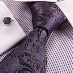 Grey flower tie for men Purple pattern Tie And Cufflink Set, Shades Of Purple, Purple Ties, Venetian Wedding, Wedding Binder, Purple Pattern, Wedding Ties, Groom And Groomsmen, Suit And Tie