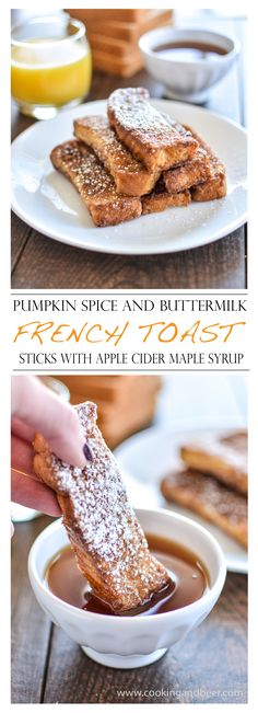 Pumpkin Spice and Buttermilk French Toast Sticks with Apple Cider Maple Syrup | www.cookingandbeer.com | @jalanesulia