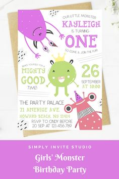 This Girls' Little Monster Birthday Invite is perfect for a little girls' birthday party. This easy to edit birthday party invitation will be a great addition to your little one's Girls' Monster Birthday Party Theme. Little Monster Birthday, Monster 1st Birthdays, Monster Birthday Parties, Monster Party, 1st Birthday Girls, Special Birthday, Birthday Party Themes, Monster Birthday Invitations, Girls Party Invitations