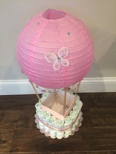 $70  Baby girl, Diaper Cake, Hot Air Balloon Diaper Cake, Whimsical, Baby Shower