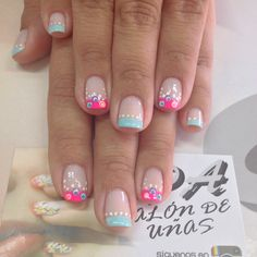 70 Trendy Spring Nail Designs are so perfect for this season Hope they can inspire you and read the article to get the gallery. Nail Designs Spring, Cute Nail Designs, Cute Nails, Pretty Nails, Hair And Nails, My Nails, Easter Nail Art, Nails 2017, French Tip Nails