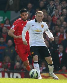 """""""PIC: Wayne Rooney in action at Anfield. It remains Liverpool 1 United 2 with 15 minutes remaining. Emre Can, Manchester United Team, Football Accessories, Wayne Rooney, Man United, Football Soccer, Liverpool, Chevrolet, The Unit"""
