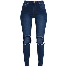 Kim Dark Wash Open Knee Rip Slim Jean ($30) ❤ liked on Polyvore featuring jeans, pants, blue jeans, slim fit jeans, destructed jeans, distressed jeans and dark-wash jeans