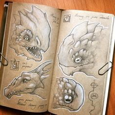 Dragon head studies on Midori journal . #midori #journal #sketch #monster #kaiju #dragon #drawing #concept #art