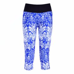 Vintage Mid Waist Floral Sports Leggings Printing Capris Lady's Fitness Workout Casual Pants Running Gym Pants Outdoor Wear
