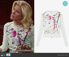 Pam's mint green bird print cardigan on The Bold and the Beautiful.  Outfit Details: https://wornontv.net/57051/ #TheBoldandtheBeautiful