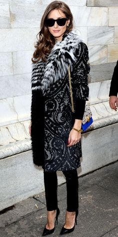 Great contrast & pairing of print & fur