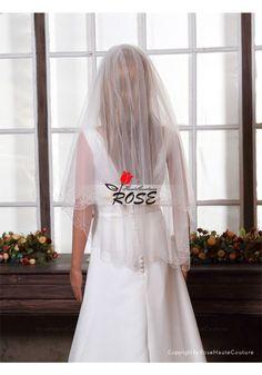 Wedding Veil 2 Tiers Tulle Bridal Veil Beads Edge Style BV113 - Wedding Veil