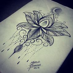 Black Ink Lotus Flower Tattoo Design