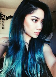 Hair Color Forever! Ombre mutlicolor. Mermaid hair. Black blue green. Dark beauty. Uniqueness. Wildflower.