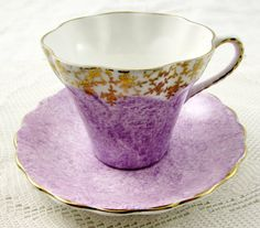 Purple Tea Cup and Saucer with Gold Decor, Made by Sandringham, Vintage Tea Cup, English Bone China