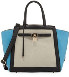 Handbags that really give you a bang for you bucks  Christian Lacroix Corrine Colorblock Lock Satchel Bag, Blue/Gray/Black