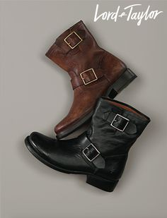 Give your old pair the boot, and treat yourself to these stylish and fall friendly Frye Vicky Engineer Buckled Leather Boots. Need a better reason?