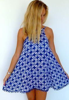 Cobalt Blue & White Pom Pom Summer Beach dress. >STYLE< This dress has a flattering low back and a cut away high neckline. >FABRIC< Lightweight