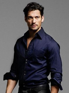 deep blue shirt - crazy for dark colored shirts! it is a very elegant look