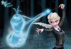 Frozen/Harry potter crossover