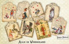 Alice in Wonderland Tag  digital collage sheet  set от TaniaDesign