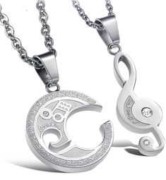 Valentine Necklace Set Couples Jewelry Stainless Steel Best Friend Puzzle Pendant Music Note Necklace Engraved with Chain Couple Necklaces, Couple Jewelry, Matching Necklaces, Pendant Jewelry, Jewelry Necklaces, Pendant Necklace, Jewlery, Unique Necklaces, Music Note Necklace