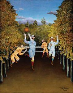 The Football Players by Henri Rousseau, Guggenheim Museum Size: cm Medium: Oil on canvas Solomon R. Guggenheim Museum, New York Illustration Arte, Illustrations, Henri Rousseau Paintings, Museums In Nyc, Ouvrages D'art, Classic Paintings, A4 Poster, Naive Art, Art Plastique