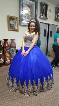 ff896143b5f Sweetheart Quinceanera Dresses Royal Blue Lace Sweet 16 Dresses Ball Gown  Style from MychicDress