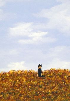 German Shepherd Dog folk Art Print by Todd Young by ToddYoungArt