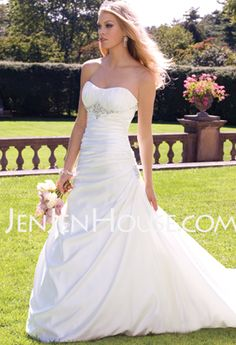 Wedding Dresses - $183.99 - A-Line/Princess Chapel Train Ruffle  Beadwork Sleeveless Wedding Dresses With Taffeta (002001186) http://jenjenhouse.com/A-line-Princess-Chapel-Train-Ruffle--Beadwork-Sleeveless-Wedding-Dresses-With-Taffeta-002001186-g1186