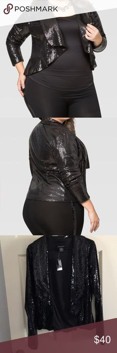 "Ashley Stewart Black Sequin Jacket Perfect Holiday Fashion- Cascade open front jacket- Long sleeves. Polyester Lined. Plus size 12 approx. measures 25"" in length. Ashley Stewart Jackets & Coats Blazers"
