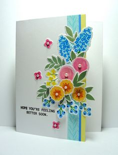 ...Enjoying Life...: Feel Better - lovely arrangment of the Fresh Cut Florals stamps (WPlus9)