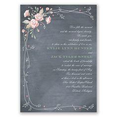 A sweet bouquet of blush pink roses creates a graceful border around this rustic chalkboard wedding invitation. #davidsbridal #weddinginvitations #rusticweddings
