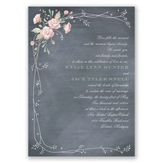 Rustic Bouquet Wedding Invitation - in Blush #WeddingInvitations #Chalkboard #Rustic
