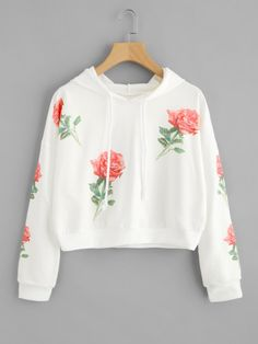 SheIn offers Rose Print Random Hoodie & more to fit your fashionable needs. Teen Fashion Outfits, Cute Fashion, Outfits For Teens, Trendy Outfits, Summer Outfits, Crop Top Hoodie, Cute Sweatshirts, Cute Shirts, Hoodies