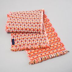 Coral Orange & Lime Handwoven Lambswool Scarf  by HShieldsTextiles