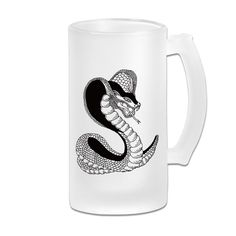 Black Cobra Tattoo Frosted Glass Pub Big Beer Cup - 500ML >>> You can get more details here : Cat mug