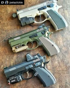 For when you can't choose just one! Here's a nice set of CZs with our Thin Bogies grips! Which one's your favorite? I can't choose! Military Weapons, Weapons Guns, Guns And Ammo, Revolver, 9mm Pistol, Cz 75, Custom Guns, Home Defense, Cool Guns