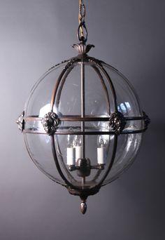 Stunning Globe Hall Lantern - with bespoke detail options - fleur de lys, lions heads etc.