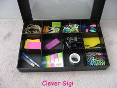 Peek-a-Boo! Treasure Box - keep all of your office supplies contained in one tidy box!  $15.00  #office #organization #clever #container #supplies