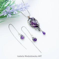 Pendant Earrings, Wire Wrapping, Earring Set, Polymer Clay, Amethyst, Handmade Jewelry, Silver, Art, Money