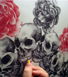 skulls and roses (ink) by paul alexander thornton #art #drawing