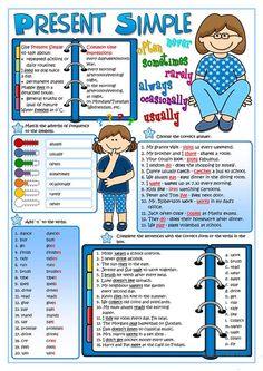 Presente Simple tense Plus Grammar Activities, English Activities, Grammar Lessons, Grammar Worksheets, Printable Worksheets, Tenses English, English Vocabulary, English Grammar, English Teaching Materials