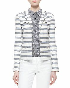 Maybe too casual? Tory Burch Striped Sergeant Pepper Jacket and Brigitte Printed Button-Down Blouse - Neiman Marcus  $395