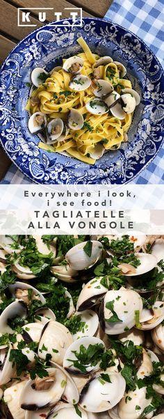 Tagliatelle alla vongole European Countries, Recipies, Deserts, Italy, Healthy Recipes, Homemade, Chicken, Dinner, The Originals