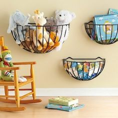 10 DIY Storage Ideas to Help Corral Your Kids' Clutter. These ideas are fabulous for the kids and can easily be adapted to parent and family spaces too. I see the wire baskets on the first slide filled with hats and mittens in winter & flip flops in summer.