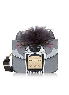 Furla Metropolis Jungle Wolf Mini Crossbody Bag In Grey Wolf Ears, Adventure Style, Mini Crossbody Bag, Shoulder Strap, Shoulder Bags, Furla, Fashion Backpack, Dust Bag, Leather