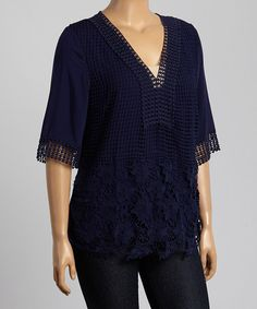 Take a look at this Navy Crochet V-Neck Top - Plus on zulily today!